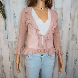 Anthropologie - Moth/ Sheer Pink Ruffle Cardigan